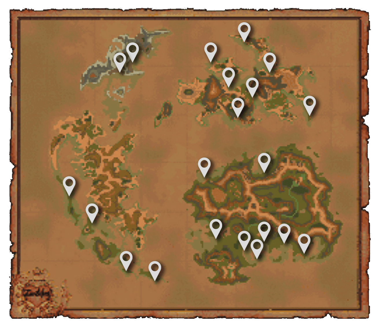 Map indicating all of the Chocobo Beach locations