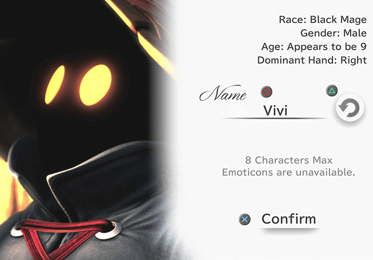 Vivi naming screen