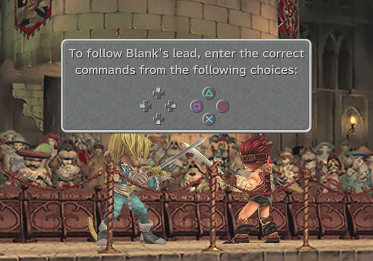 Sword battle between Zidane and Blank