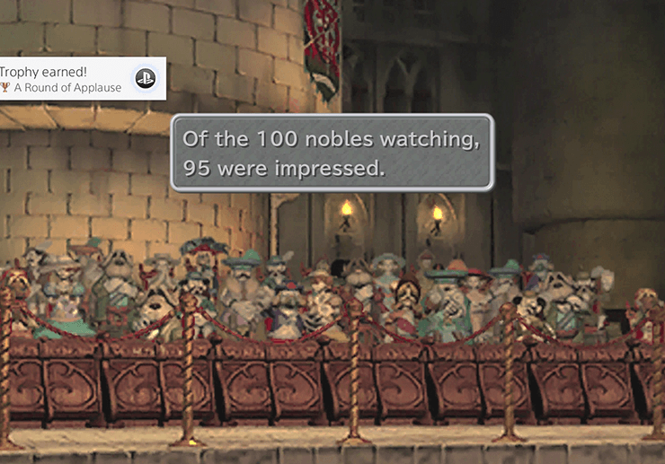 100 nobles watching and 95 were impressed