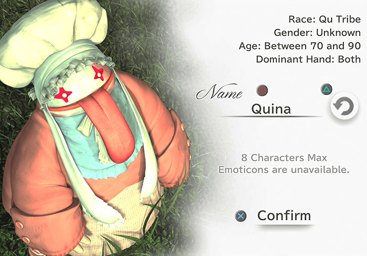 Quina Character Naming Screen