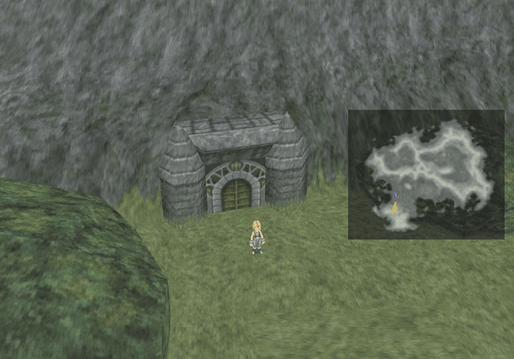 Zidane in front of the Dragon's Gate in the Eunorus Plains