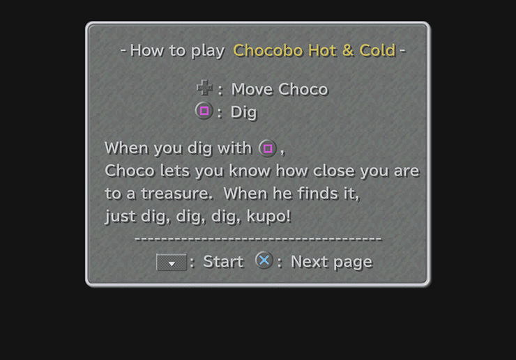 The instructions for Chocobo Hot & Cold