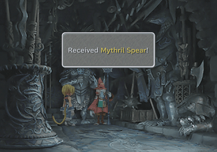 Picking up the Mythril Spear in the Armory