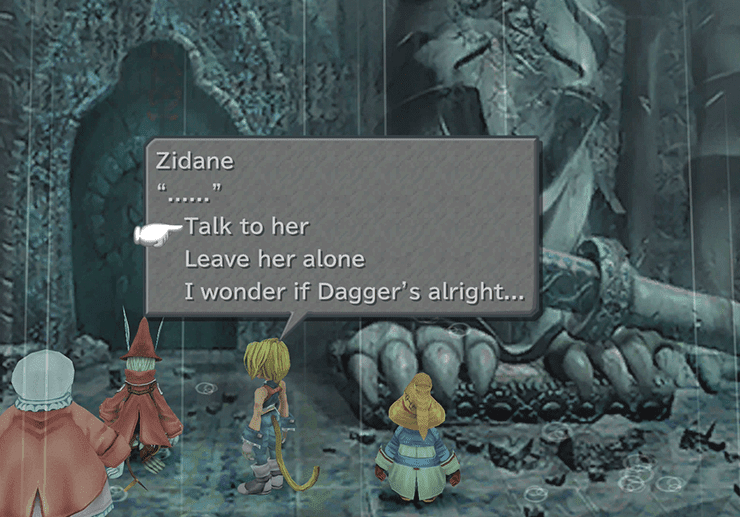 Zidane speaking to Freya at the entrance to the King's Castle