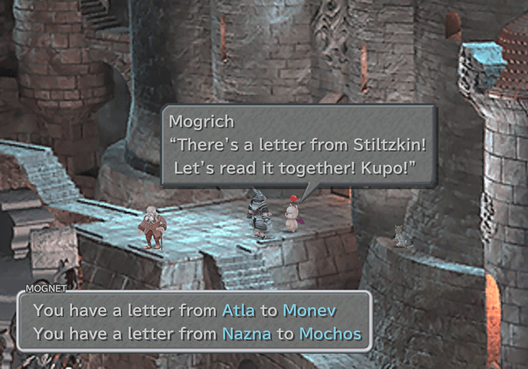 Speaking to Mogrish the Moogle outside the weapon shop in Treno