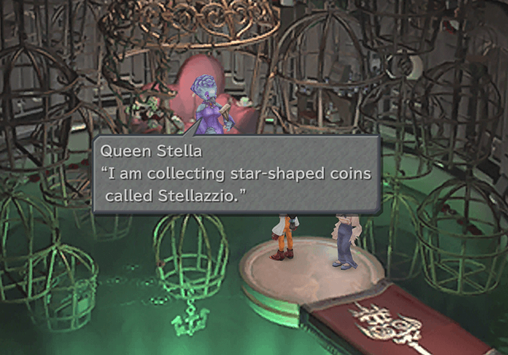 Queen Stella telling Zidane that she is collecting star-shaped coins