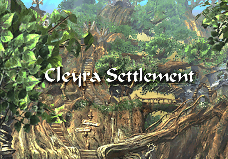 The title screen for Cleyra Settlement
