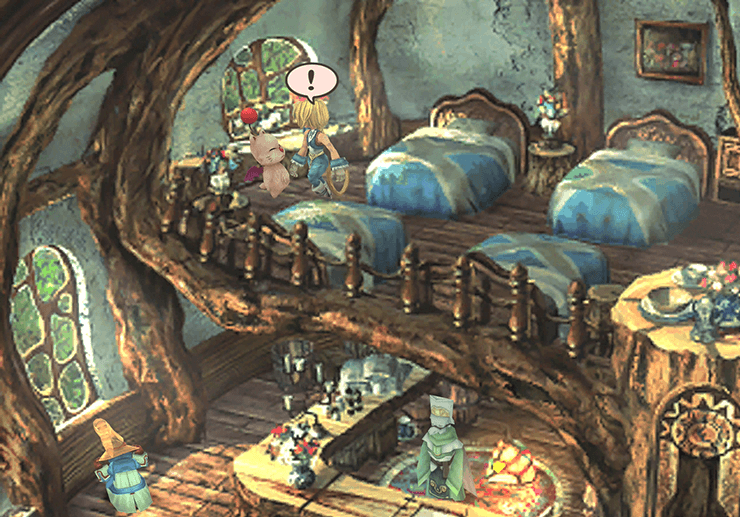 Speaking to Mopli the Moogle on the second floor of the Inn