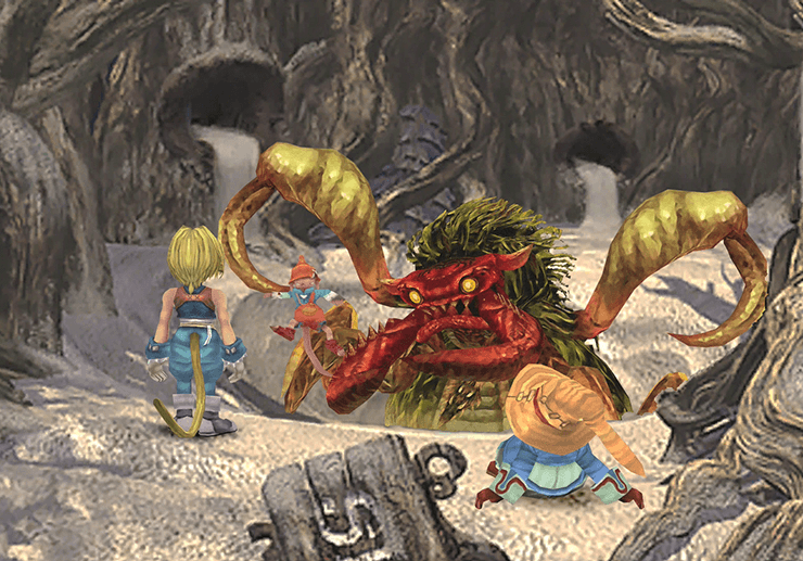 Zidane and Vivi near the Antlion near the sandpit
