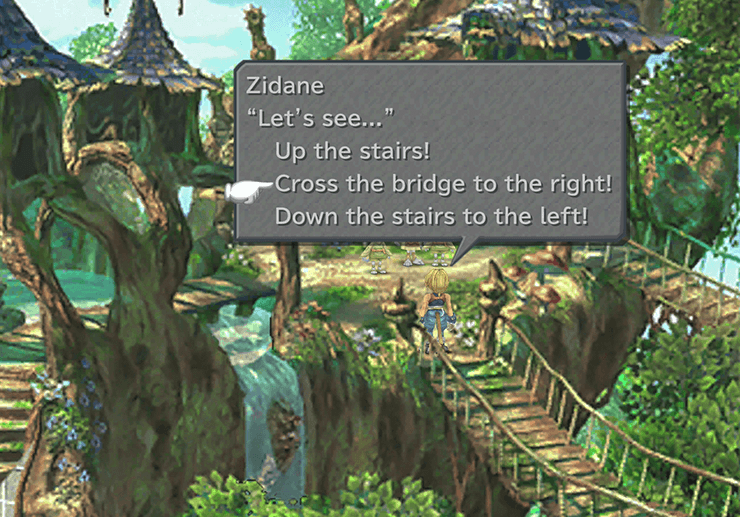 Zidane choosing between going up the stairs, crossing the bridge to the right or going down the stairs to the left