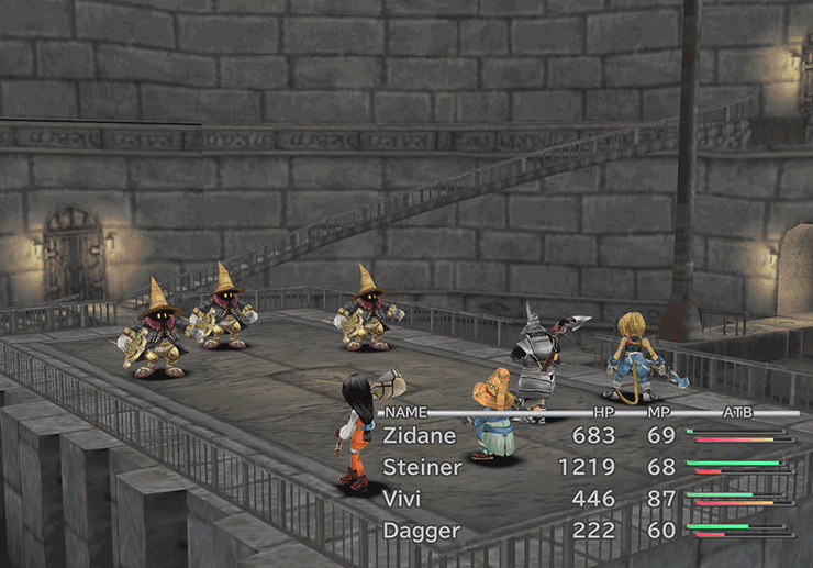 Battle against three Black Mages