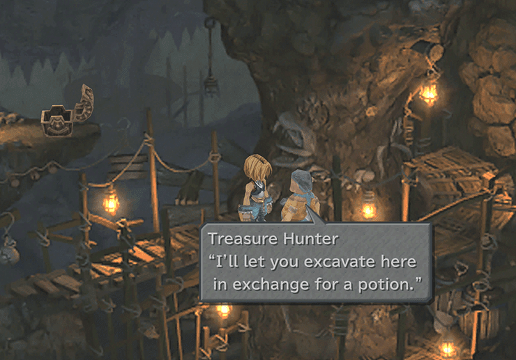 Treasure Hunter in Fossil Roo asking for a Potion exchange