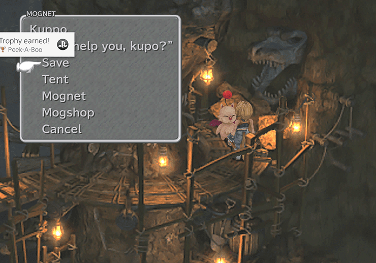 Using the Treasure Hunter minigame to dig Kuppo the Moogle out of the wall