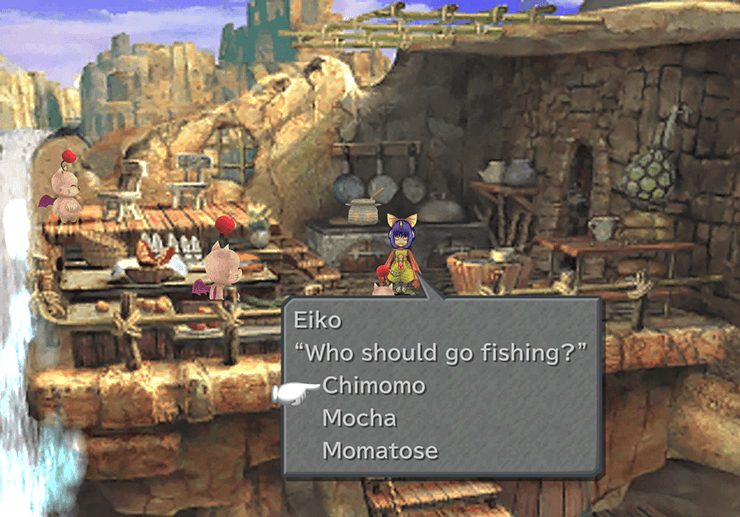 Eiko deciding which of the Moogles should go fishing during the Eiko's Feelings ATE