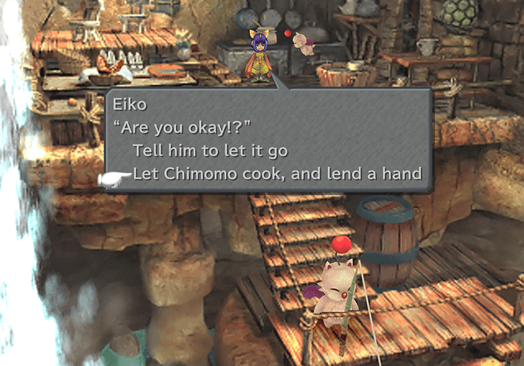 Eiko asking Quina for advice cooking during the Eiko's Feelings ATE