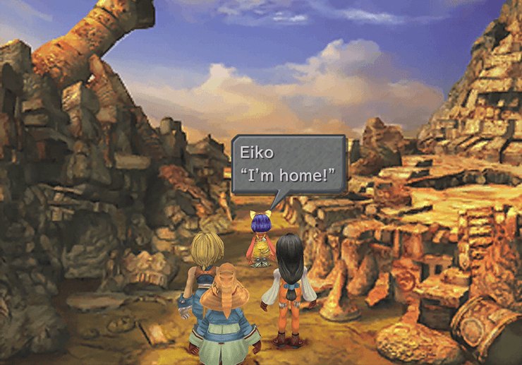 The entrance to Madain Sari with Eiko exclaiming that she's home