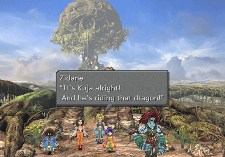 It's Kuja riding his Silver Dragon, Zidane exclaims