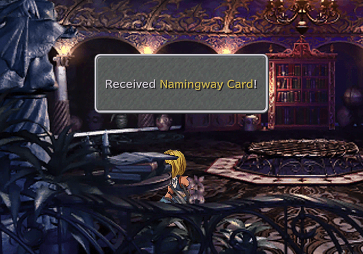 Picking up the Namingway Card off the table in Kuja's Room