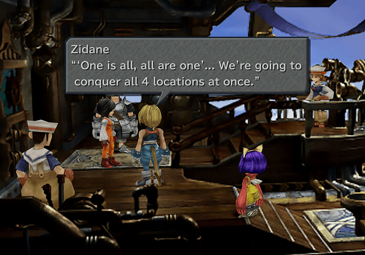 Zidane discussing the plan of attack on the Hilda Garde III