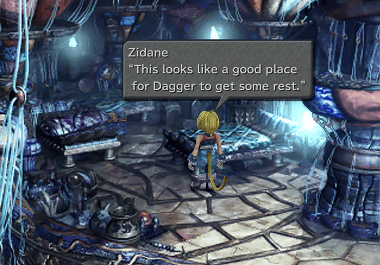 Zidane deciding that this is a good place to drop Dagger off