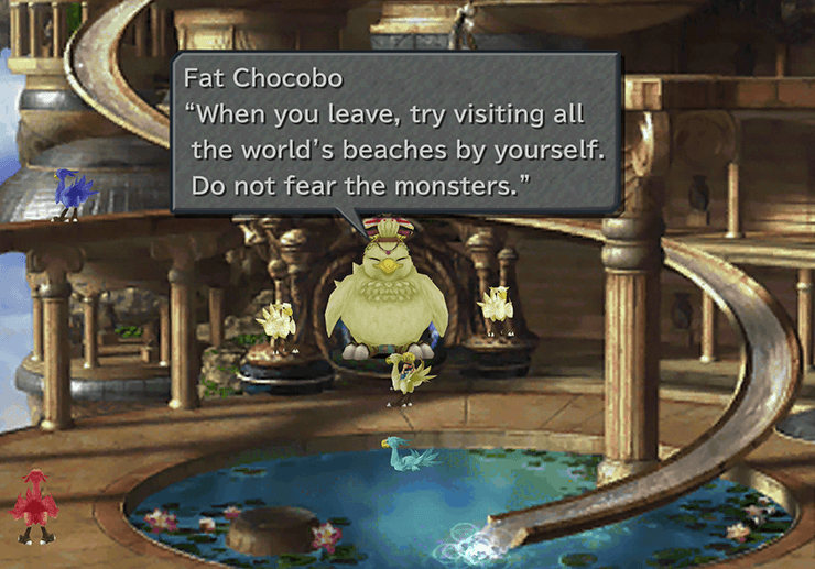 Fat Chocobo asking the team to visit all the beaches of the world