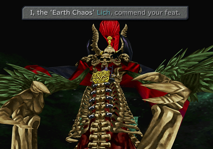 Lich speaking about Earth Chaos, the Lich and last boss of Memoria