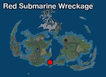 Red Submarine Wreckage on the World Maps