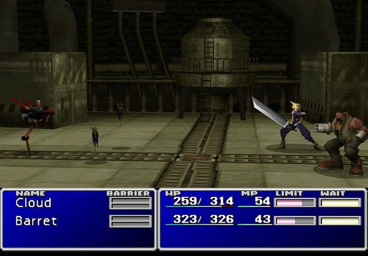 Barret and Cloud in a battle