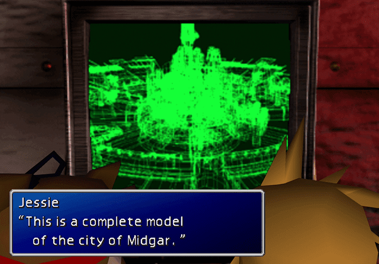 Jesse showing Cloud the mini model of city of Midgar