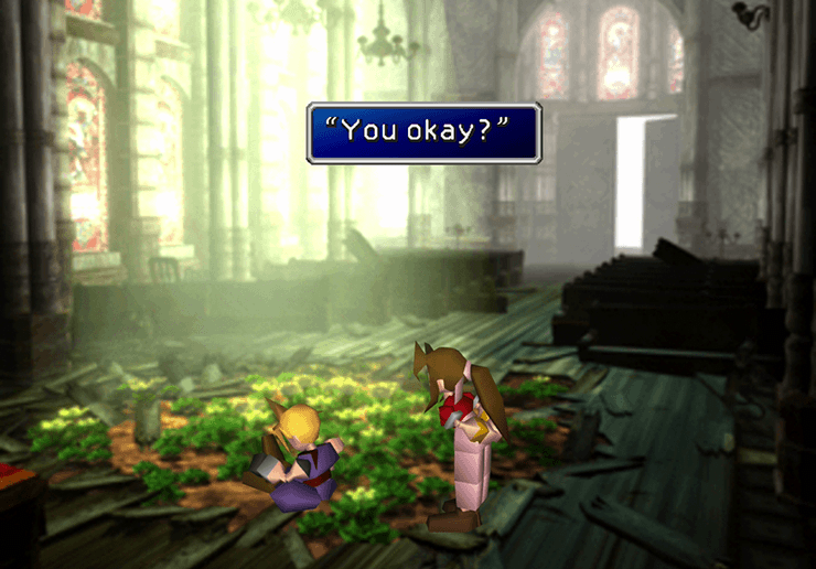 Aeris in the Church of the Sector 5 Slums