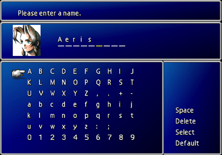 The naming screen for Aeris