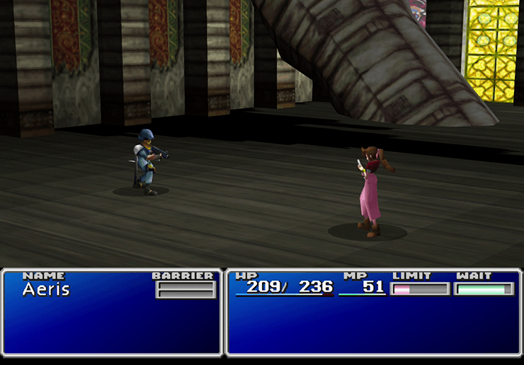 Aeris in a battle with a guard