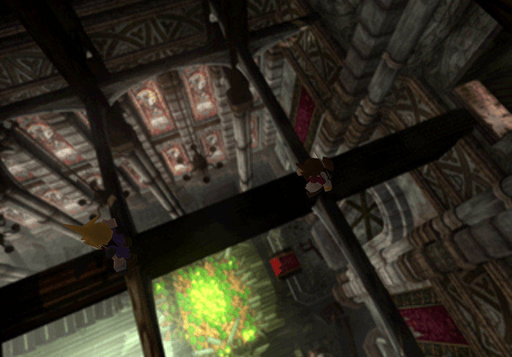 Aeris and Cloud in the rafters of the church