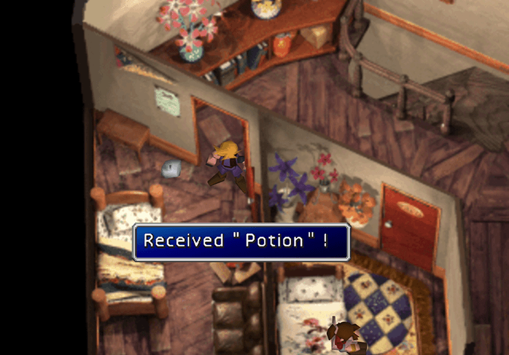 Picking up the Potion on the second floor of Aeris's House