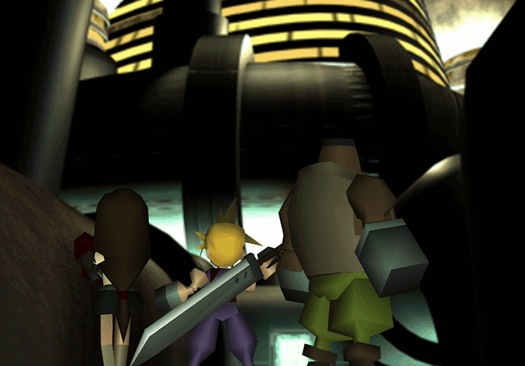 Tifa, Cloud and Barret approaching Shinra Building