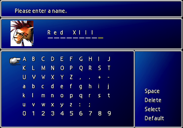Red XIII name screen