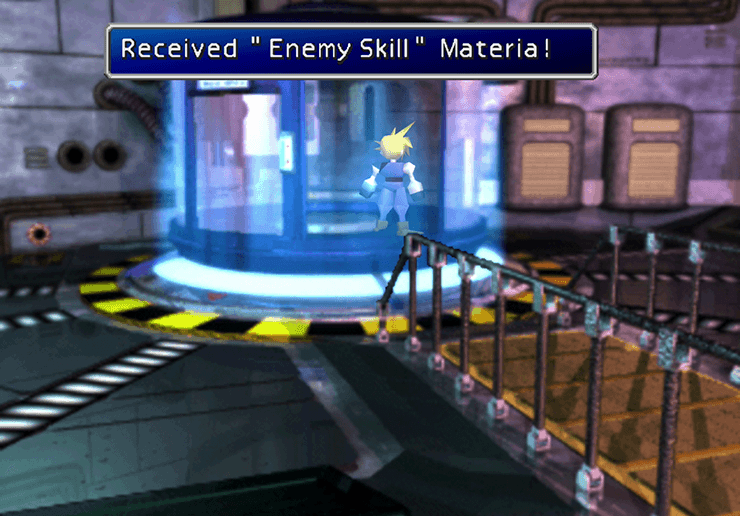 Picking up the Enemy Skill Materia after a battle against Sample: H0512
