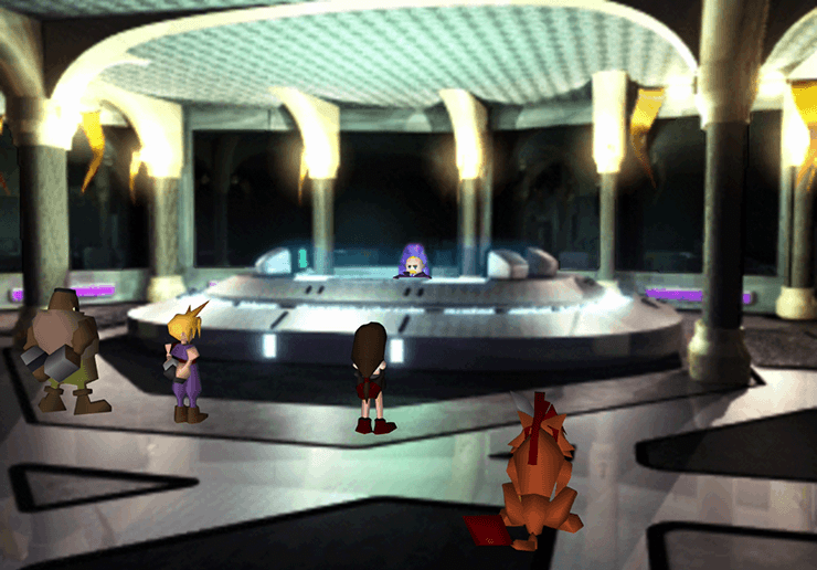 The team speaking to President Shinra