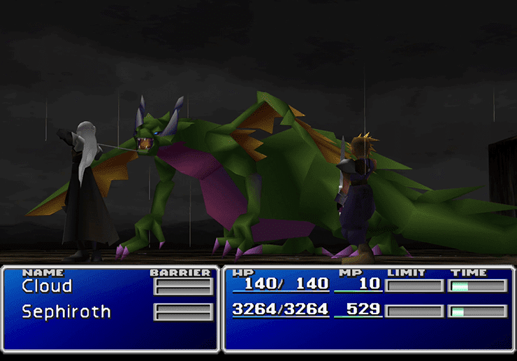 Cloud and Sephiroth battling a Green Dragon