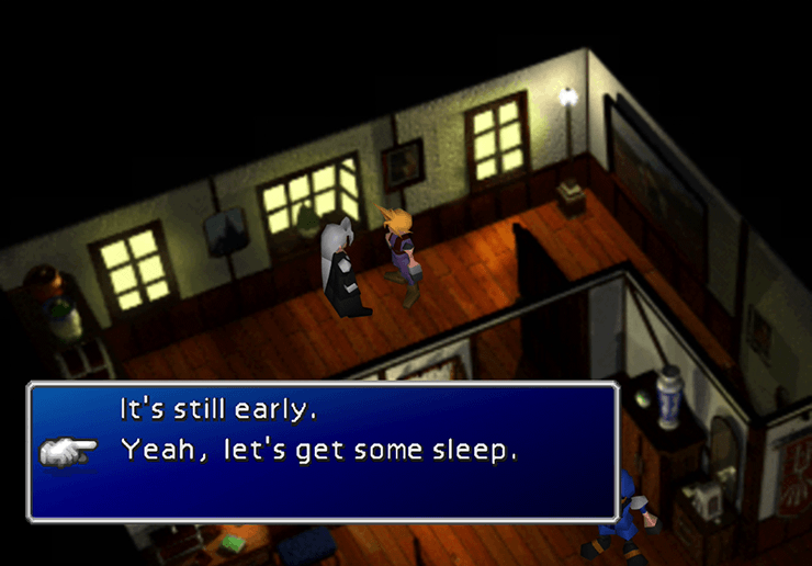 Getting some sleep with Sephiroth in Kalm