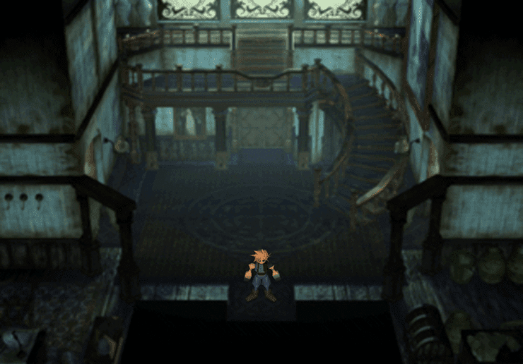 Cloud at the entrance to the Shinra Mansion