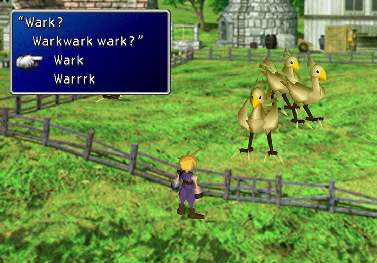 Speaking to the Chocobo at the Chocobo Farm