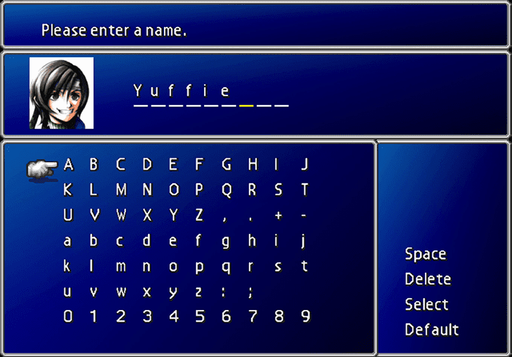 Yuffie Naming Screen