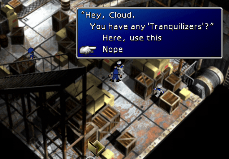 Offering a Tranquilizer to Yuffie