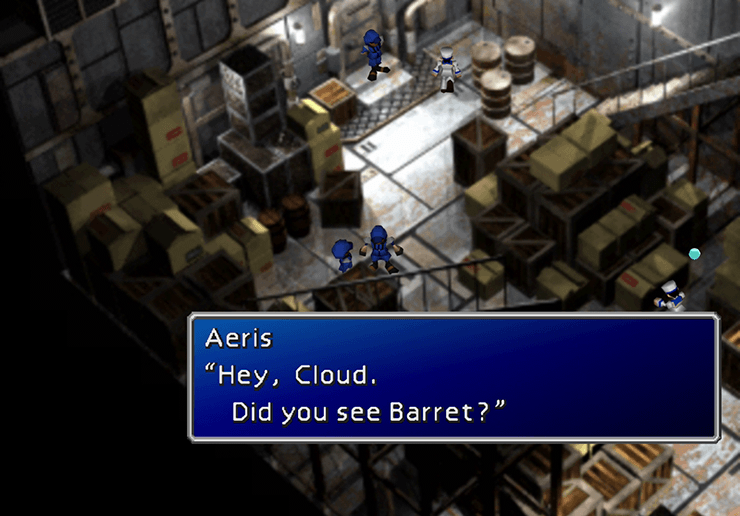 Speak to Aeris a second time in the Cargo Bay