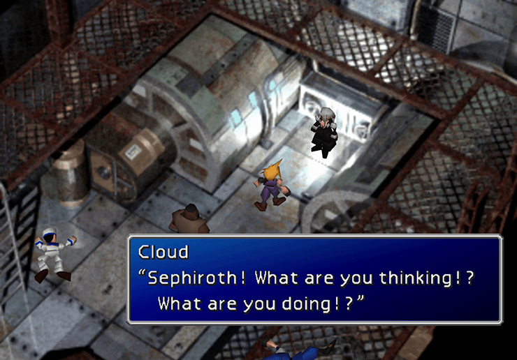 Speaking to Sephiroth before the next Jenova fight