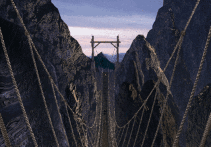 The rope bridge on Mount Corel