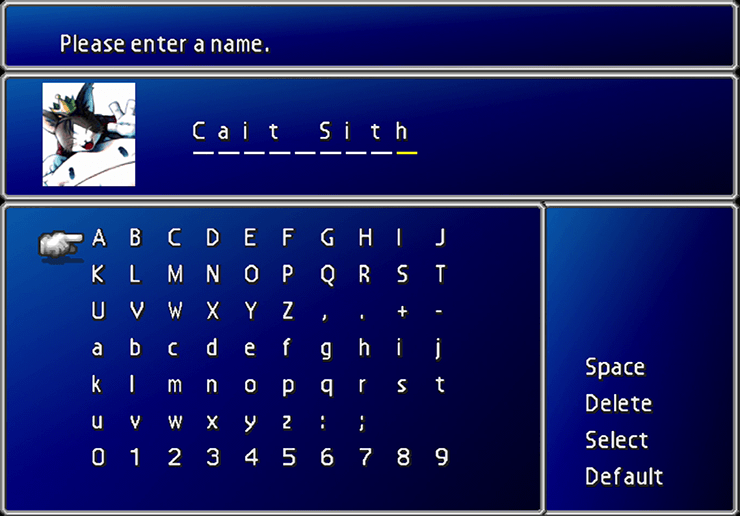 Cait Sith naming screen