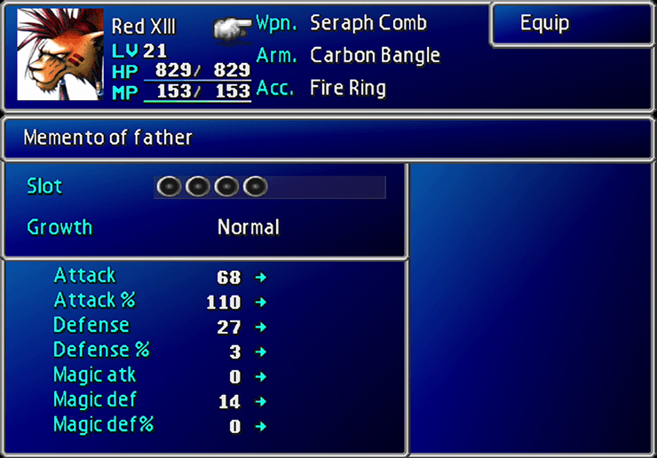 Red XIII's Seraph Comb weapon